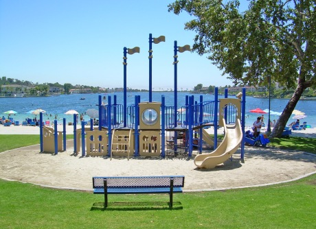 Playground at Lake Mission Viejo Beach Boat Shaped Play Equipment