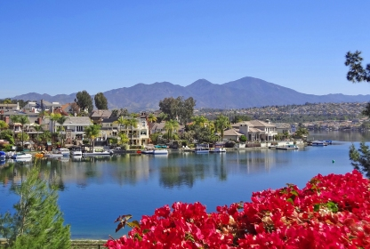Bougainvillea Plants and Tres Vistas Custom Homes Lake Mission Viejo