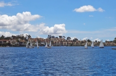 Sailboats on Lake Mission Viejo Finisterra on the Lake