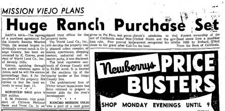 Rancho Mission Viejo land sale and purchase 1961