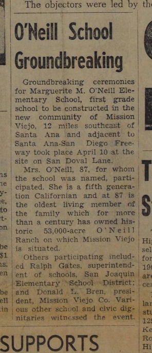 Marguerite O'Neill School Mission Viejo Groundbreaking 1967