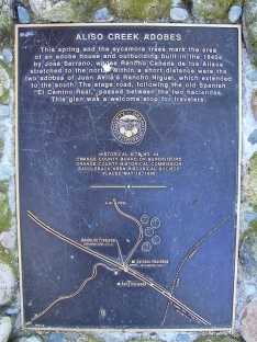 Aliso Creek Adobes Marker Sycamore Park Mission Viejo
